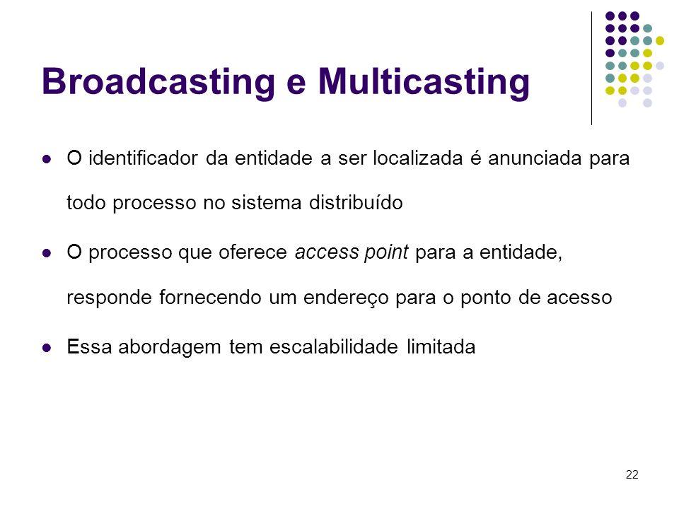 22 Broadcasting e Multicasting O identificador da entidade a ser localizada é anunciada para todo processo no sistema distribuído O processo que ofere
