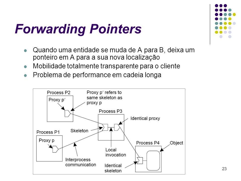 23 Forwarding Pointers Quando uma entidade se muda de A para B, deixa um ponteiro em A para a sua nova localização Mobilidade totalmente transparente