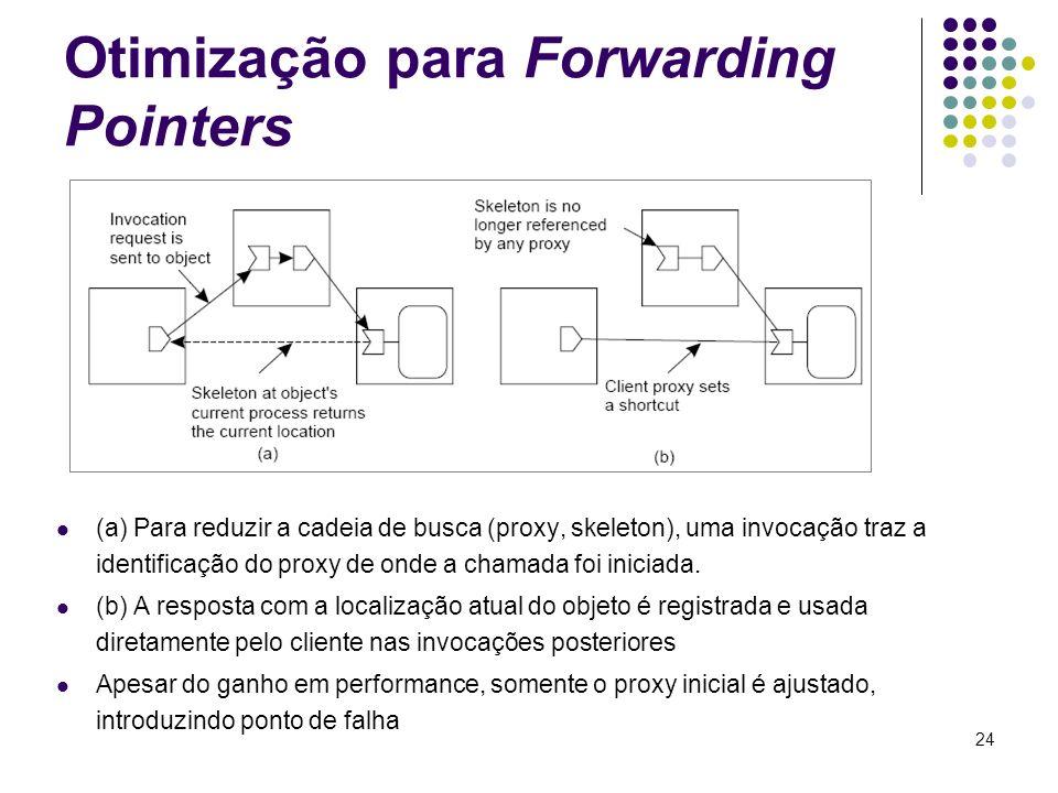 24 Otimização para Forwarding Pointers (a) Para reduzir a cadeia de busca (proxy, skeleton), uma invocação traz a identificação do proxy de onde a cha