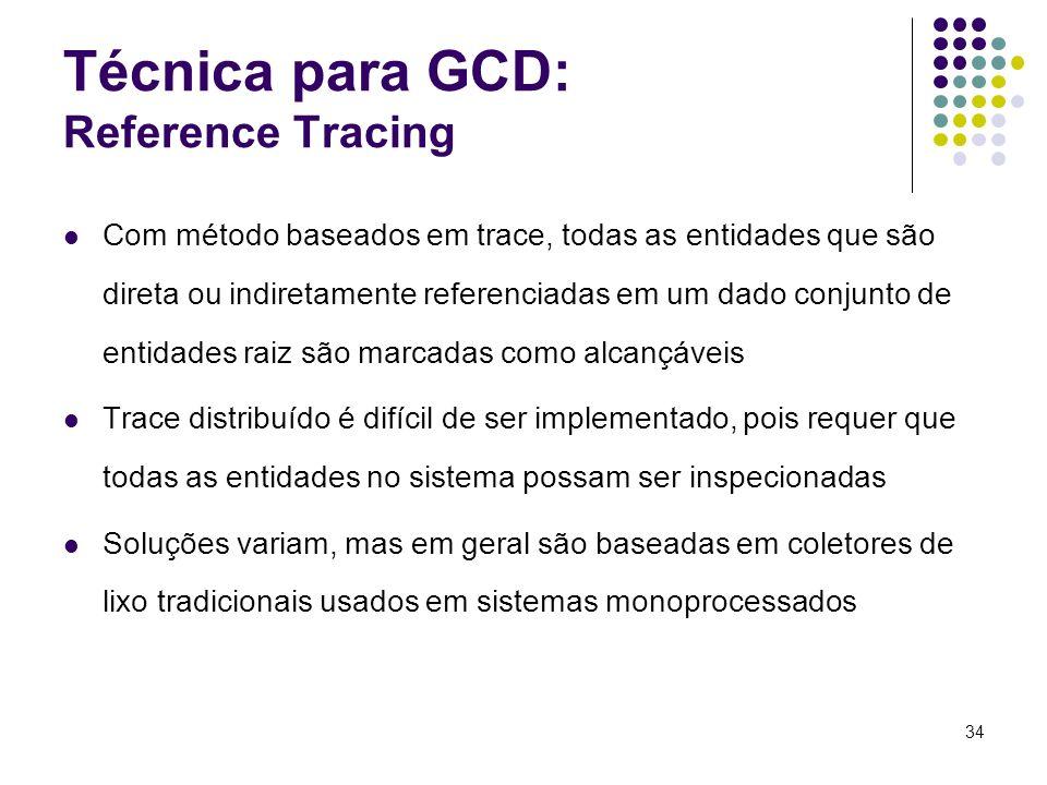 34 Técnica para GCD: Reference Tracing Com método baseados em trace, todas as entidades que são direta ou indiretamente referenciadas em um dado conju