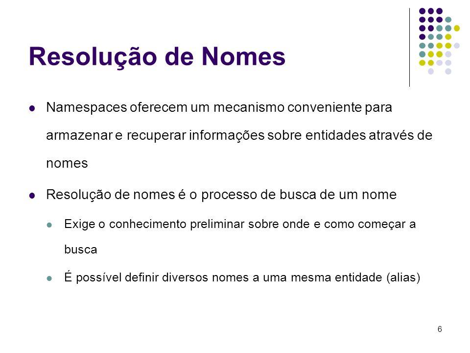 6 Resolução de Nomes Namespaces oferecem um mecanismo conveniente para armazenar e recuperar informações sobre entidades através de nomes Resolução de