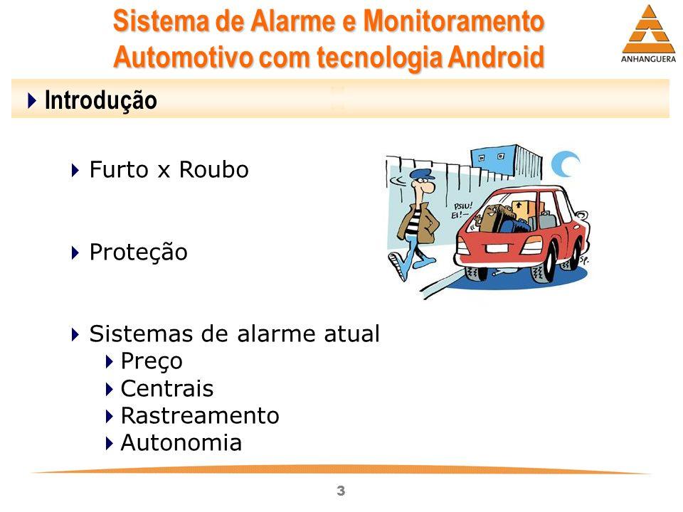 3 Sistema de Alarme e Monitoramento Automotivo com tecnologia Android Introdução Furto x Roubo Proteção Sistemas de alarme atual Preço Centrais Rastre