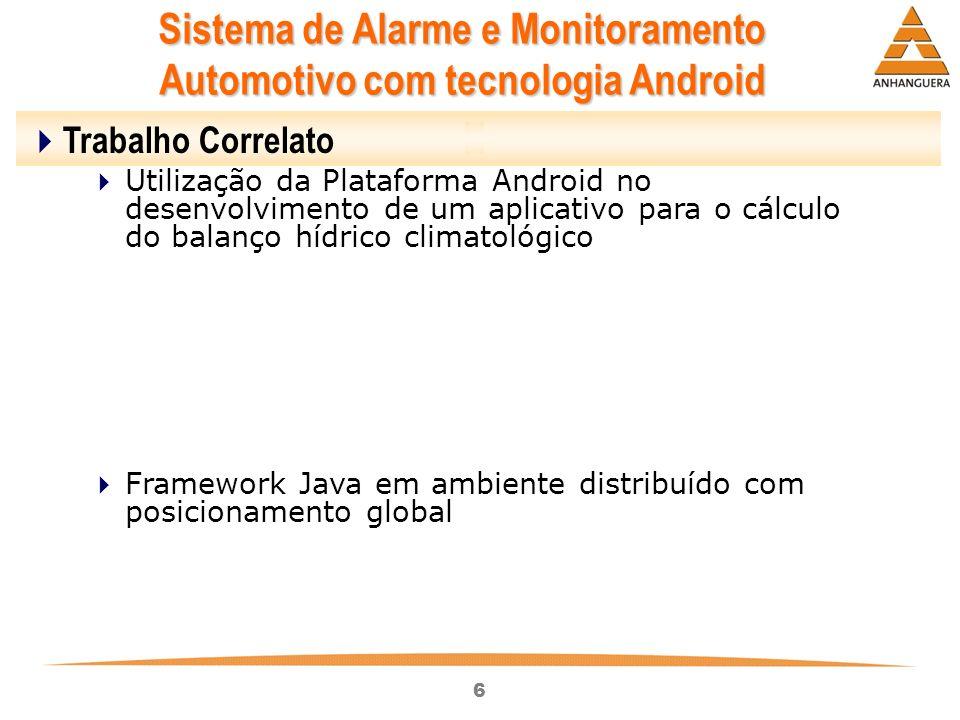 6 Sistema de Alarme e Monitoramento Automotivo com tecnologia Android Trabalho Correlato Utilização da Plataforma Android no desenvolvimento de um apl