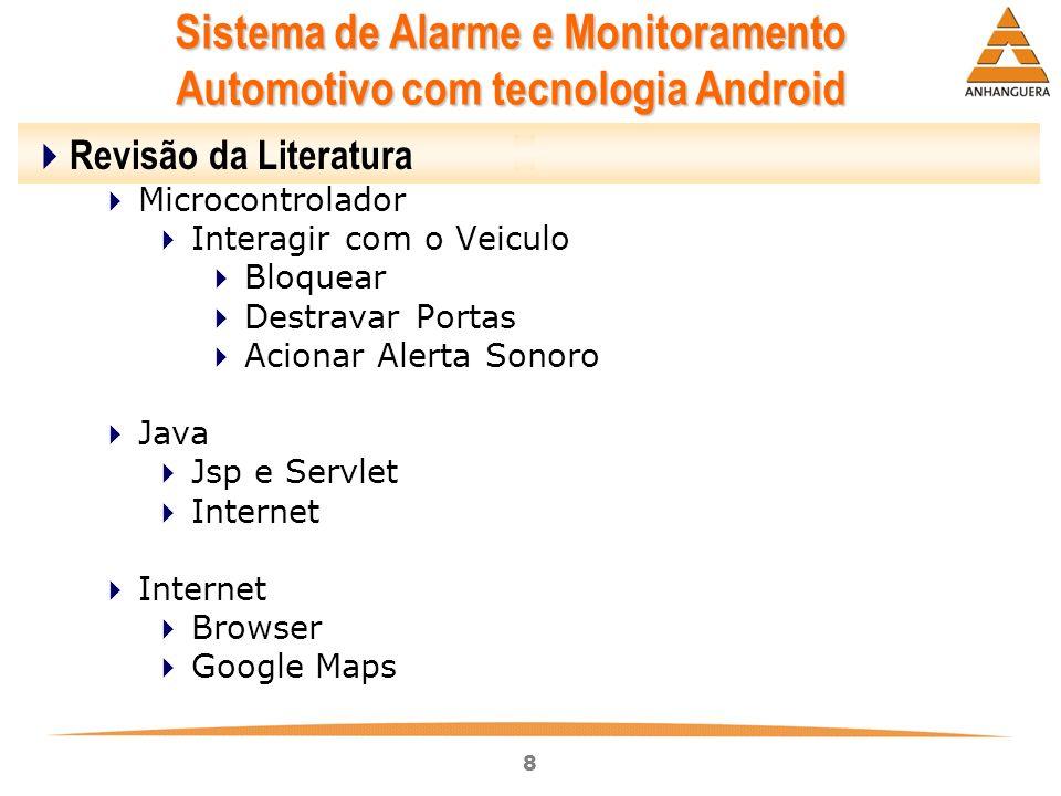 8 Sistema de Alarme e Monitoramento Automotivo com tecnologia Android Revisão da Literatura Microcontrolador Interagir com o Veiculo Bloquear Destrava