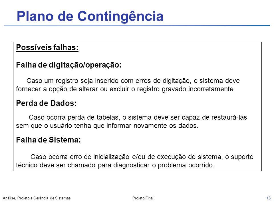 13 Análise, Projeto e Gerência de SistemasProjeto Final Plano de Contingência Possíveis falhas: Falha de digitação/operação: Caso um registro seja ins