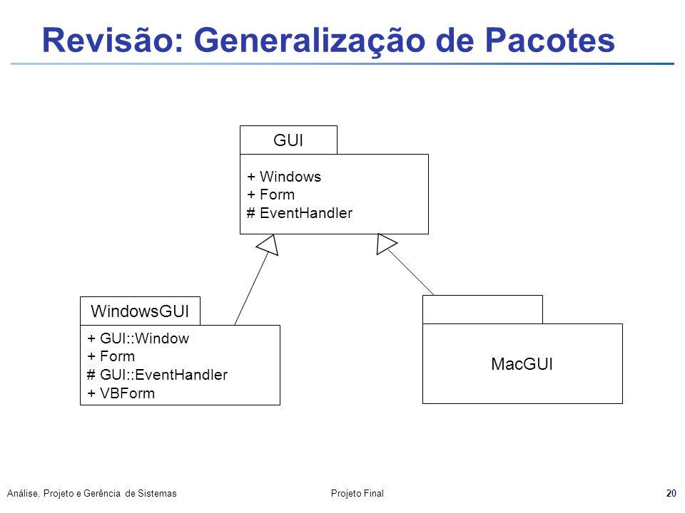 20 Análise, Projeto e Gerência de SistemasProjeto Final Revisão: Generalização de Pacotes + Windows + Form # EventHandler GUI WindowsGUI + GUI::Window