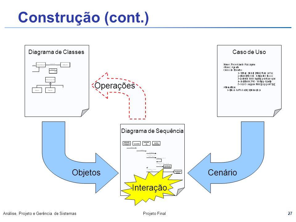 27 Análise, Projeto e Gerência de SistemasProjeto Final Construção (cont.) Diagrama de ClassesCaso de UsoDiagrama de Sequência ObjetosCenário Interaçã
