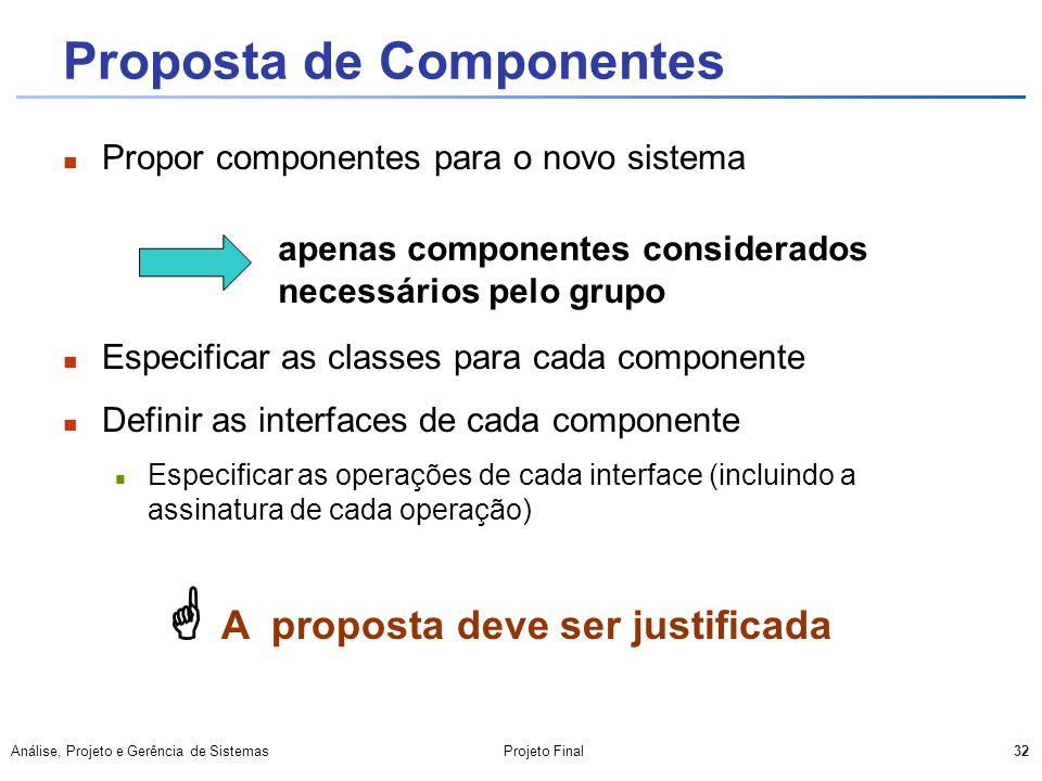 32 Análise, Projeto e Gerência de SistemasProjeto Final Proposta de Componentes Propor componentes para o novo sistema Especificar as classes para cad