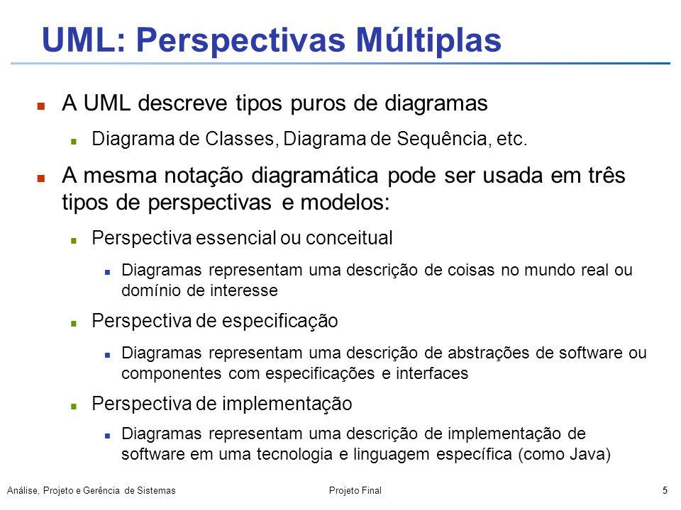 5 Análise, Projeto e Gerência de SistemasProjeto Final UML: Perspectivas Múltiplas A UML descreve tipos puros de diagramas n Diagrama de Classes, Diag