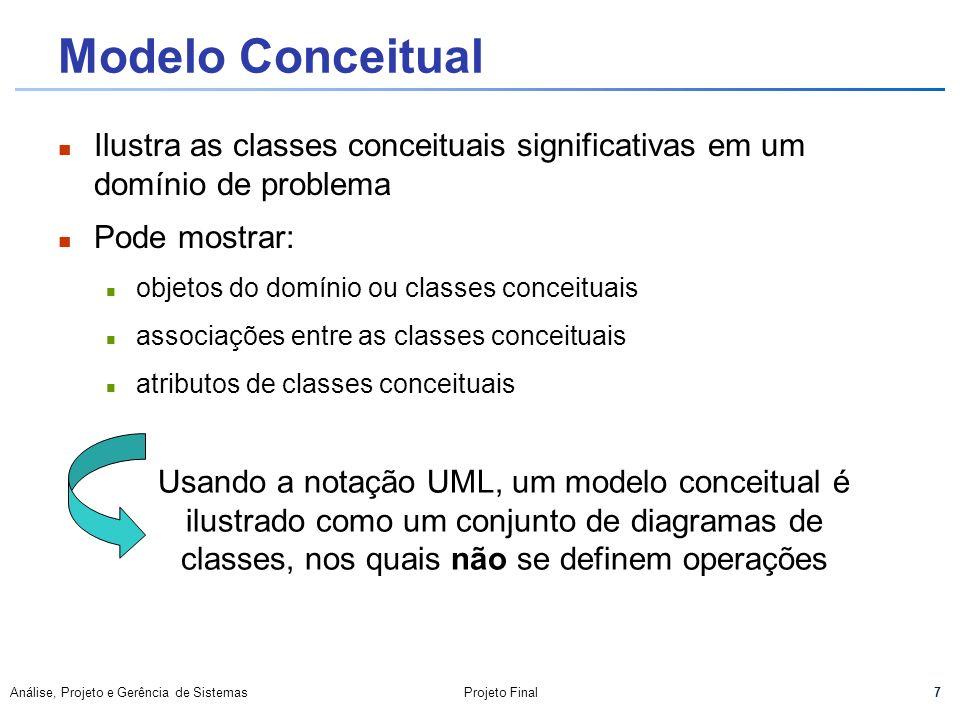 7 Análise, Projeto e Gerência de SistemasProjeto Final Modelo Conceitual Ilustra as classes conceituais significativas em um domínio de problema Pode