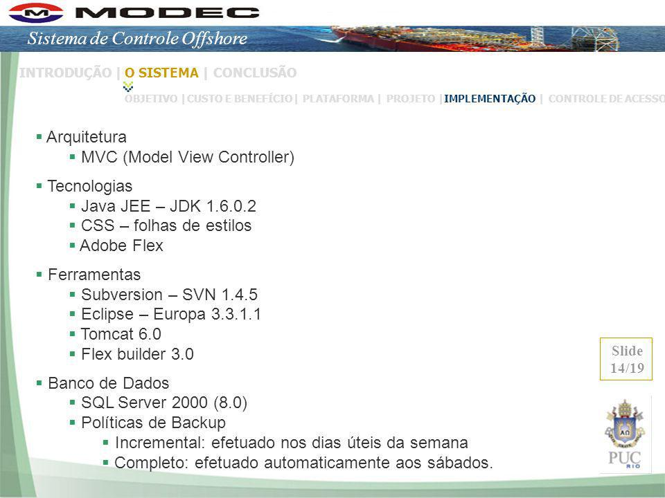 Arquitetura MVC (Model View Controller) Tecnologias Java JEE – JDK 1.6.0.2 CSS – folhas de estilos Adobe Flex Ferramentas Subversion – SVN 1.4.5 Eclip