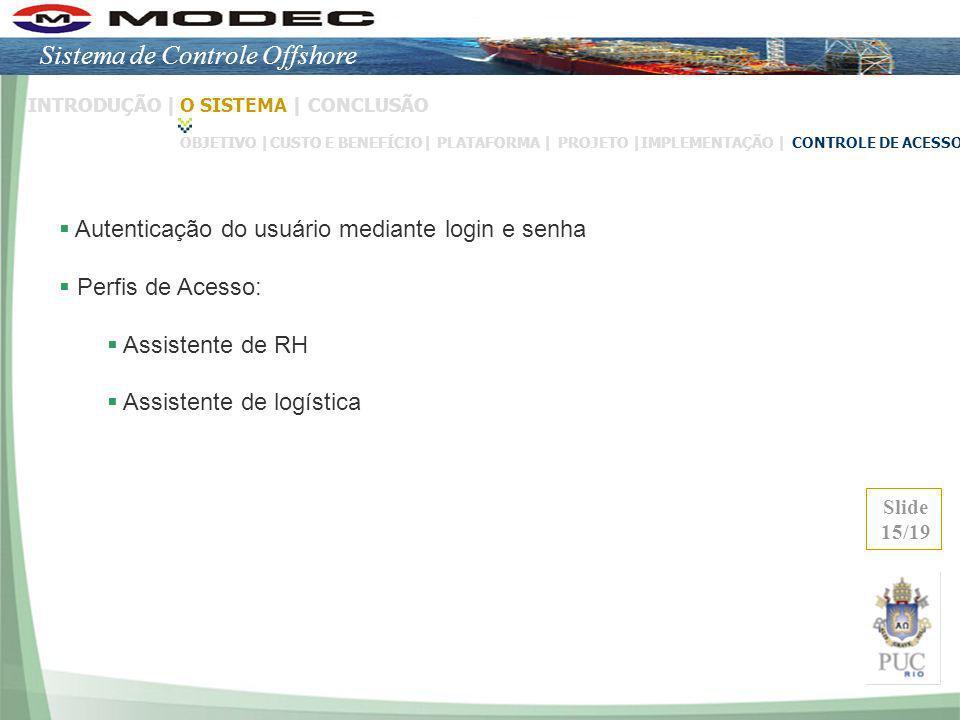 Autenticação do usuário mediante login e senha Perfis de Acesso: Assistente de RH Assistente de logística Slide 15/19 INTRODUÇÃO |O SISTEMA |CONCLUSÃO
