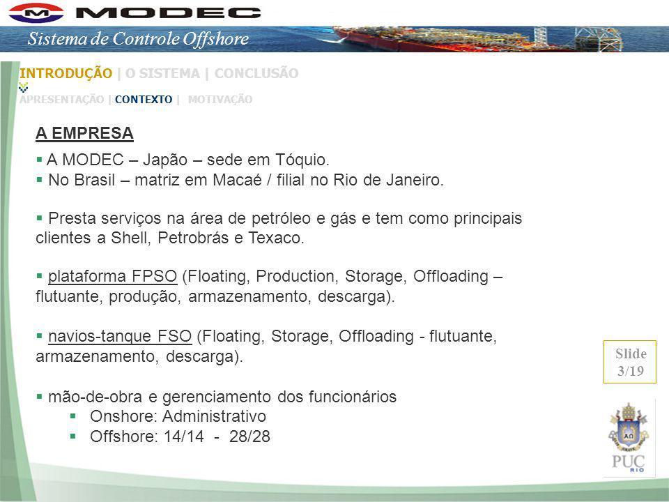 A MODEC – Japão – sede em Tóquio. No Brasil – matriz em Macaé / filial no Rio de Janeiro. Presta serviços na área de petróleo e gás e tem como princip