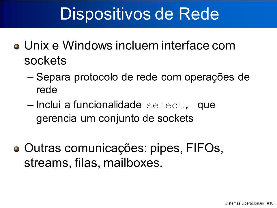 Sistemas Operacionais #10 Dispositivos de Rede Unix e Windows incluem interface com sockets –Separa protocolo de rede com operações de rede –Inclui a