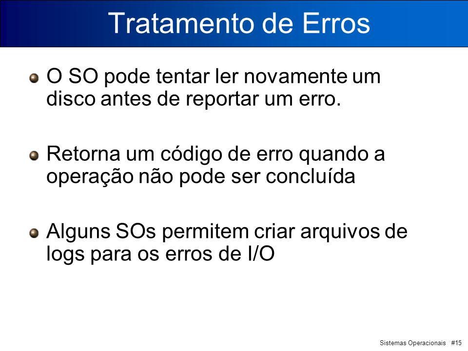 Sistemas Operacionais #15 Tratamento de Erros O SO pode tentar ler novamente um disco antes de reportar um erro. Retorna um código de erro quando a op