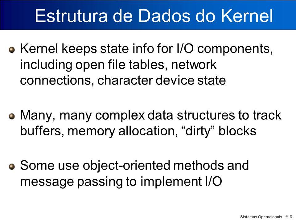 Sistemas Operacionais #16 Estrutura de Dados do Kernel Kernel keeps state info for I/O components, including open file tables, network connections, ch