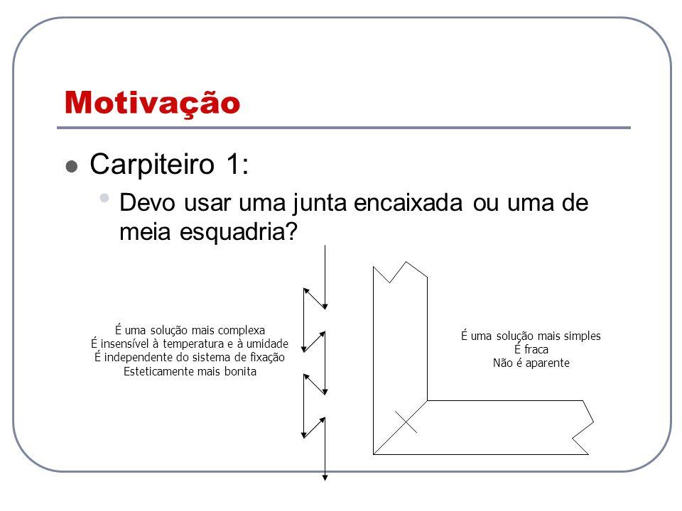Motivação Carpiteiro 1: Devo usar uma junta encaixada ou uma de meia esquadria? É uma solução mais simples É fraca Não é aparente É uma solução mais c