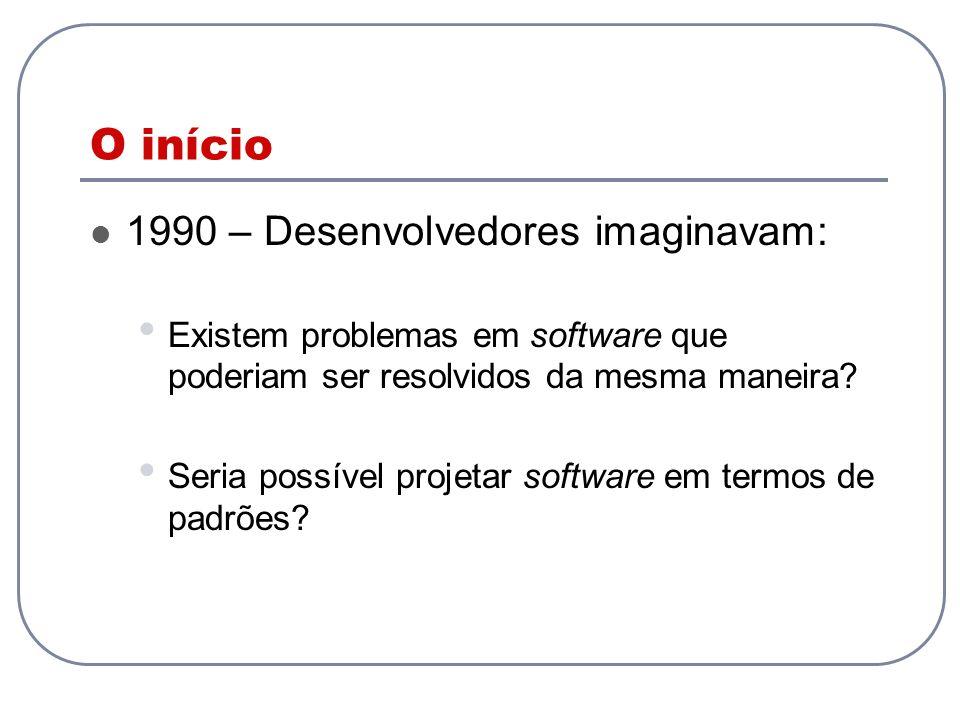 O início 1990 – Desenvolvedores imaginavam: Existem problemas em software que poderiam ser resolvidos da mesma maneira? Seria possível projetar softwa