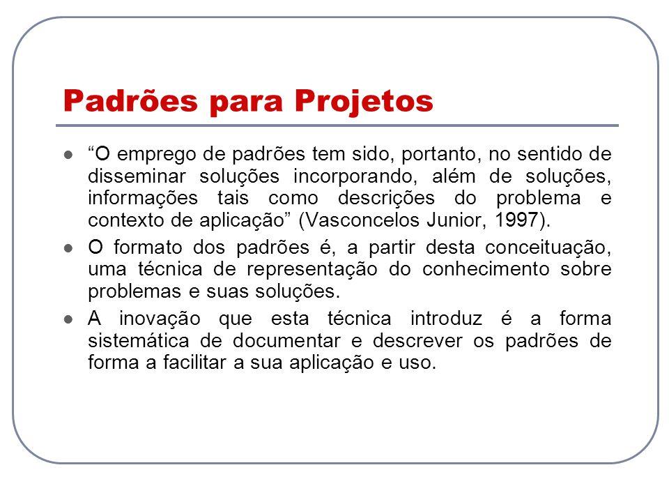 Padrões para Projetos O emprego de padrões tem sido, portanto, no sentido de disseminar soluções incorporando, além de soluções, informações tais como