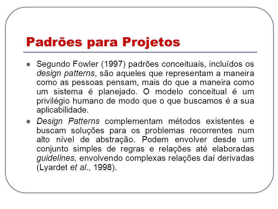 Padrões para Projetos Segundo Fowler (1997) padrões conceituais, incluídos os design patterns, são aqueles que representam a maneira como as pessoas p