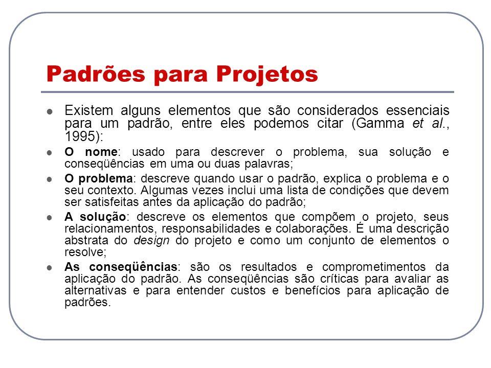 Padrões para Projetos Existem alguns elementos que são considerados essenciais para um padrão, entre eles podemos citar (Gamma et al., 1995): O nome: