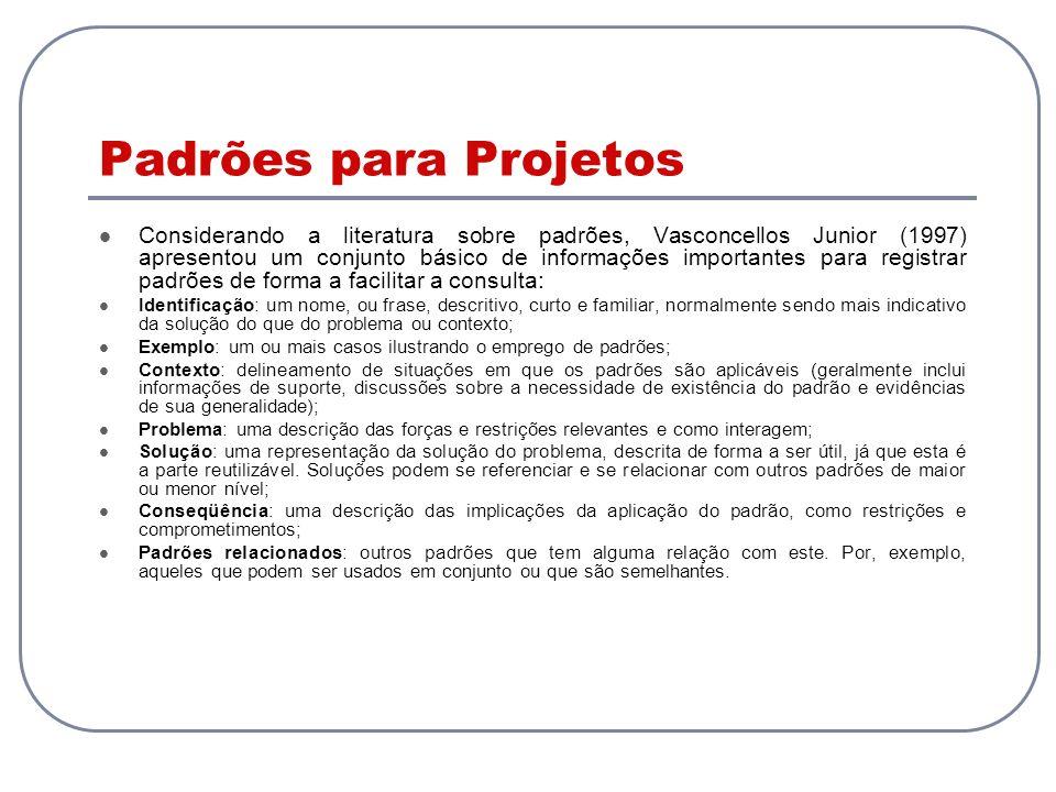Padrões para Projetos Considerando a literatura sobre padrões, Vasconcellos Junior (1997) apresentou um conjunto básico de informações importantes par