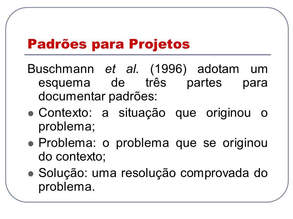 Padrões para Projetos Buschmann et al. (1996) adotam um esquema de três partes para documentar padrões: Contexto: a situação que originou o problema;