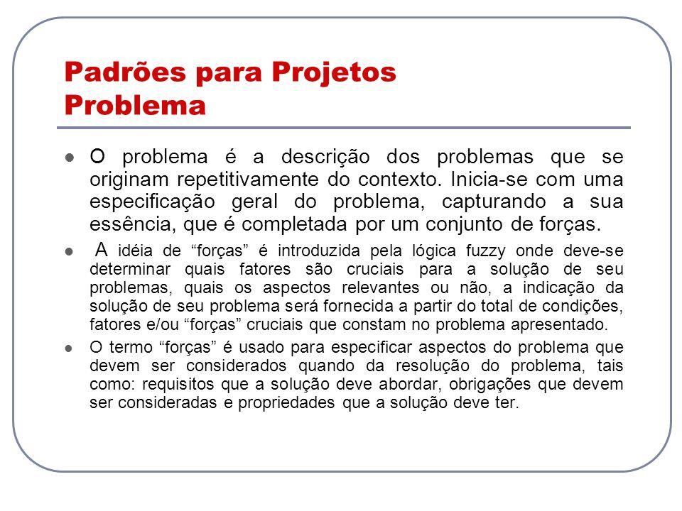 Padrões para Projetos Problema O problema é a descrição dos problemas que se originam repetitivamente do contexto. Inicia-se com uma especificação ger