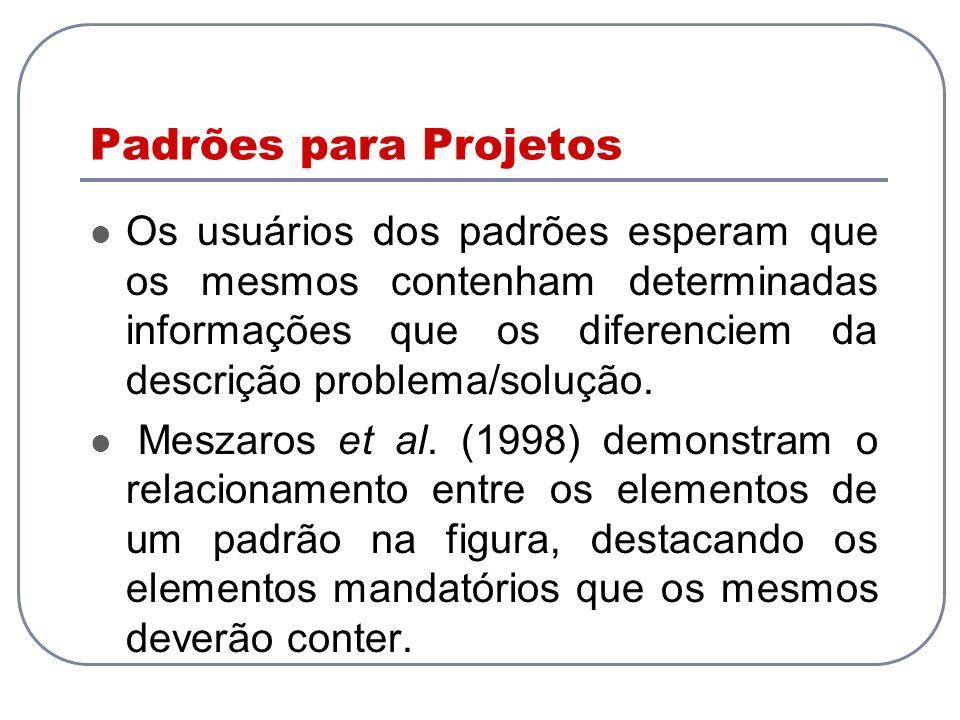 Padrões para Projetos Os usuários dos padrões esperam que os mesmos contenham determinadas informações que os diferenciem da descrição problema/soluçã