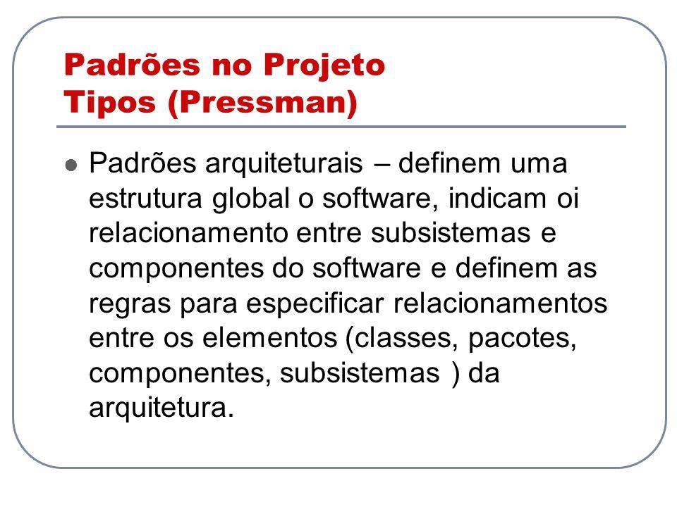 Padrões no Projeto Tipos (Pressman) Padrões arquiteturais – definem uma estrutura global o software, indicam oi relacionamento entre subsistemas e com