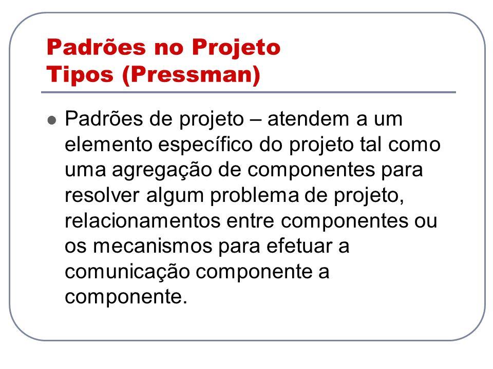 Padrões no Projeto Tipos (Pressman) Padrões de projeto – atendem a um elemento específico do projeto tal como uma agregação de componentes para resolv