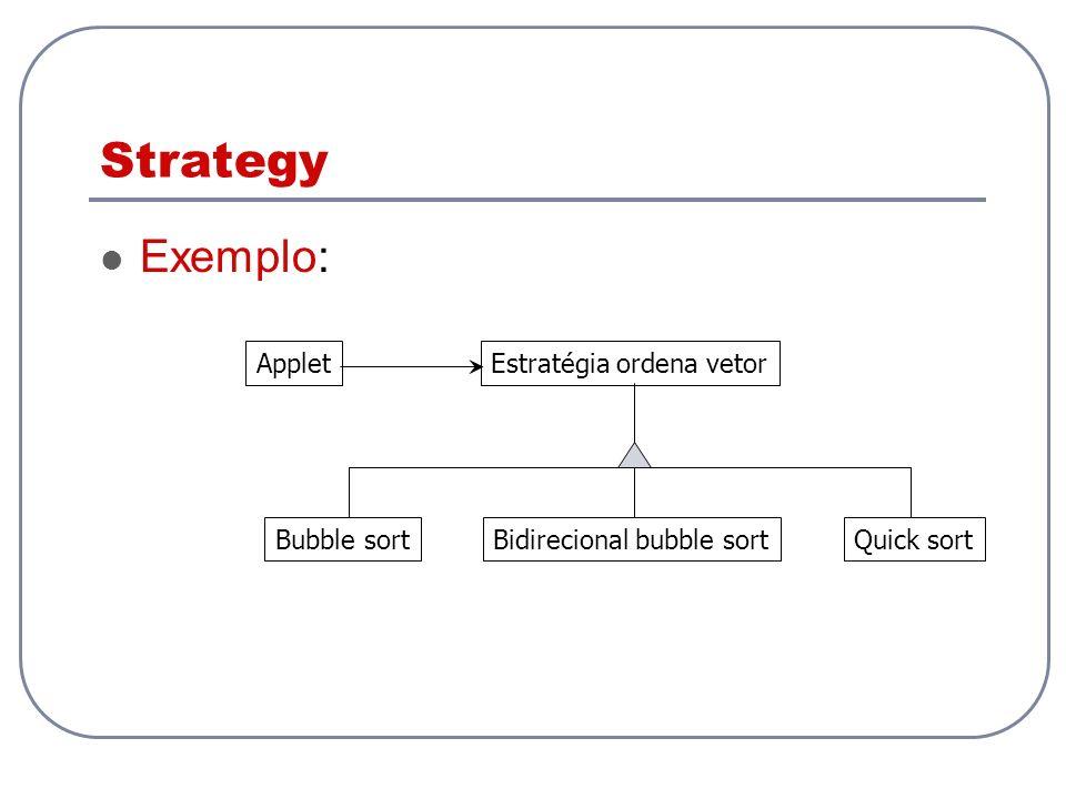 Strategy Exemplo: AppletEstratégia ordena vetor Bubble sortBidirecional bubble sortQuick sort