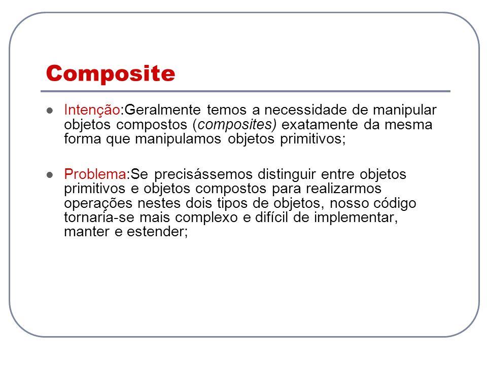 Composite Intenção:Geralmente temos a necessidade de manipular objetos compostos (composites) exatamente da mesma forma que manipulamos objetos primit