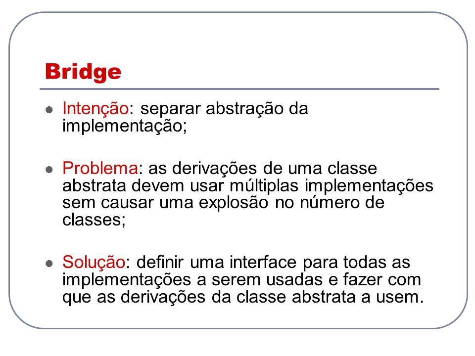 Bridge Intenção: separar abstração da implementação; Problema: as derivações de uma classe abstrata devem usar múltiplas implementações sem causar uma