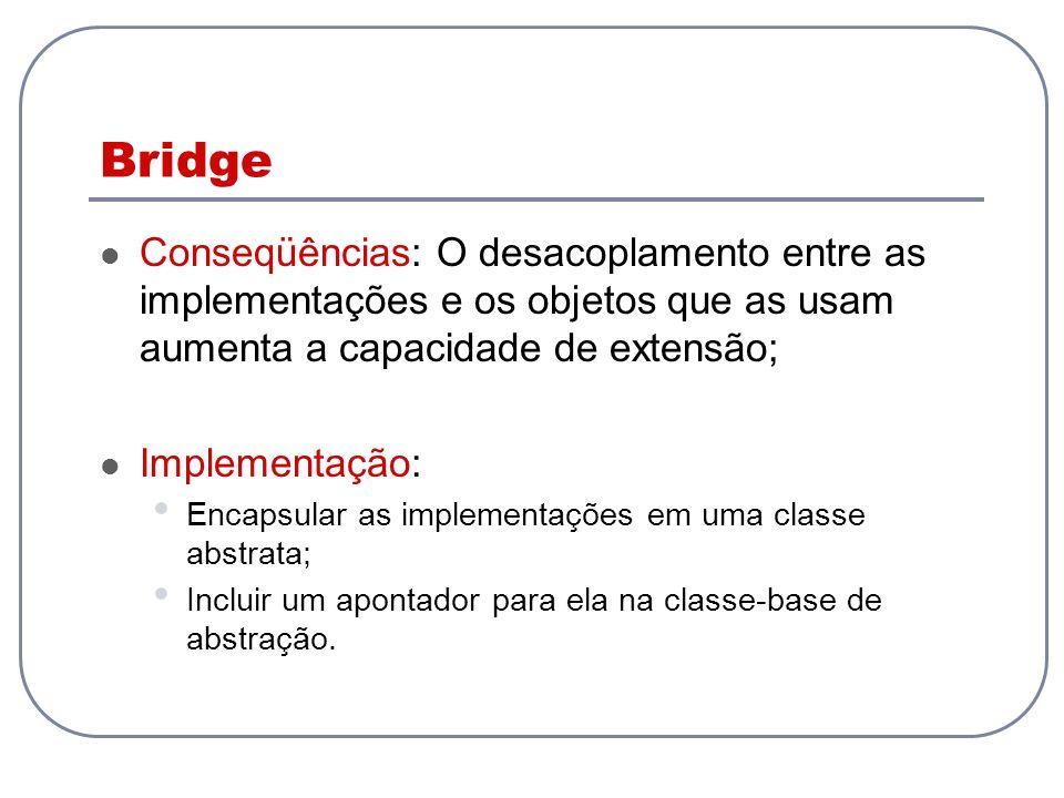 Bridge Conseqüências: O desacoplamento entre as implementações e os objetos que as usam aumenta a capacidade de extensão; Implementação: Encapsular as