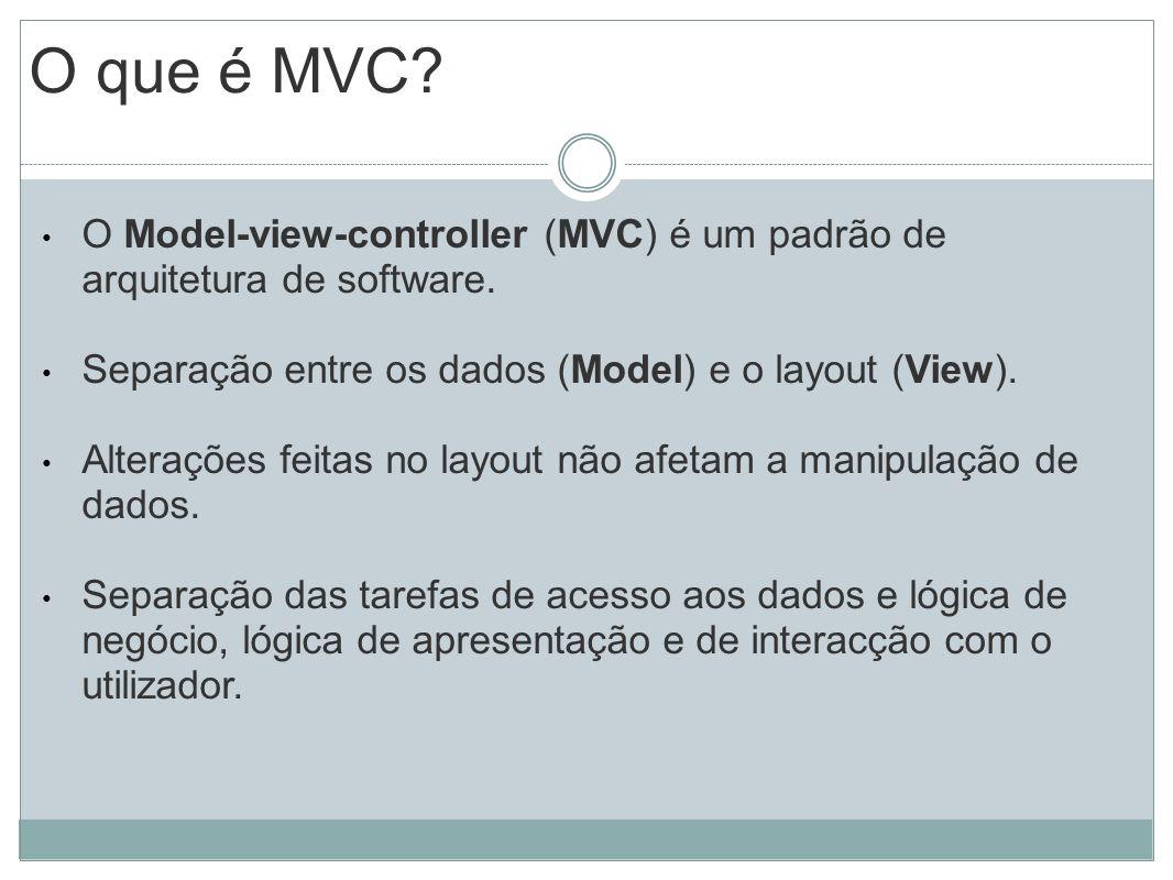 O que é MVC? O Model-view-controller (MVC) é um padrão de arquitetura de software. Separação entre os dados (Model) e o layout (View). Alterações feit