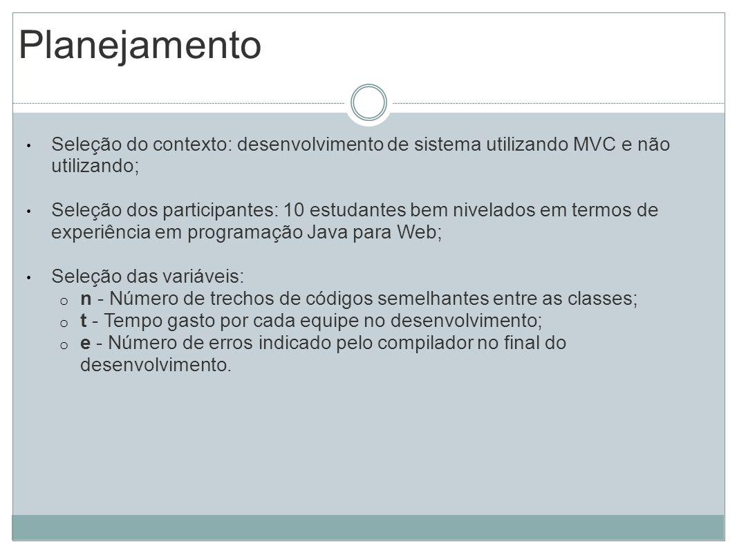 Planejamento Seleção do contexto: desenvolvimento de sistema utilizando MVC e não utilizando; Seleção dos participantes: 10 estudantes bem nivelados e