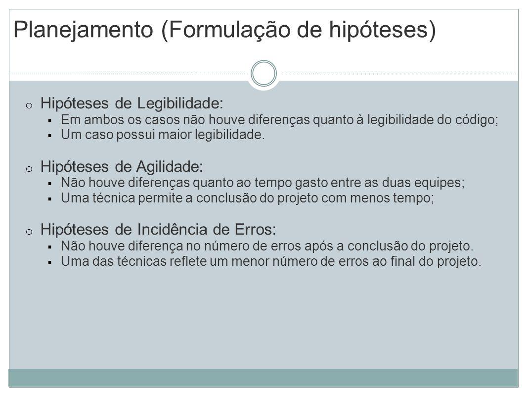 Planejamento (Formulação de hipóteses) o Hipóteses de Legibilidade: Em ambos os casos não houve diferenças quanto à legibilidade do código; Um caso po