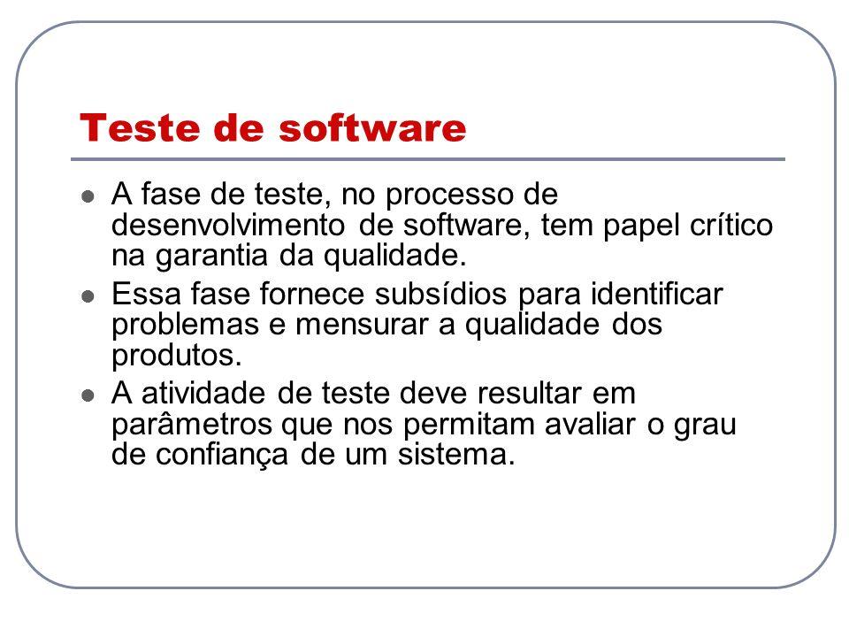 Casos: Teste das interações Chamadas de métodos 2 abordagens: Programação defensiva O receptor verifica os parâmetros Programação por contrato A mensagem é verificada antes do envio