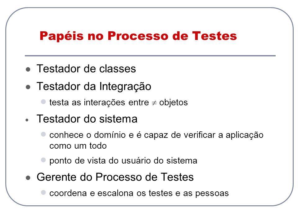 Papéis no Processo de Testes Testador de classes Testador da Integração testa as interações entre objetos Testador do sistema conhece o domínio e é ca