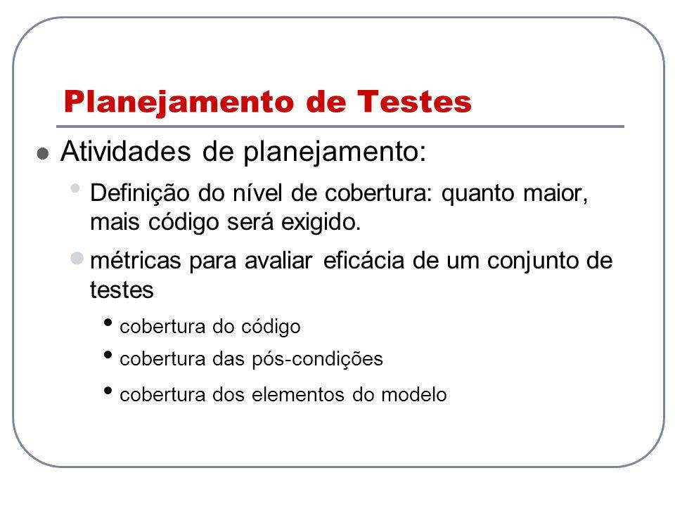 Planejamento de Testes Atividades de planejamento: Definição do nível de cobertura: quanto maior, mais código será exigido. métricas para avaliar efic
