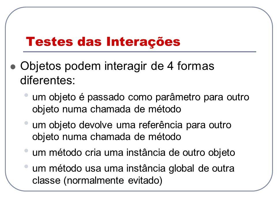 Testes das Interações Objetos podem interagir de 4 formas diferentes: um objeto é passado como parâmetro para outro objeto numa chamada de método um o