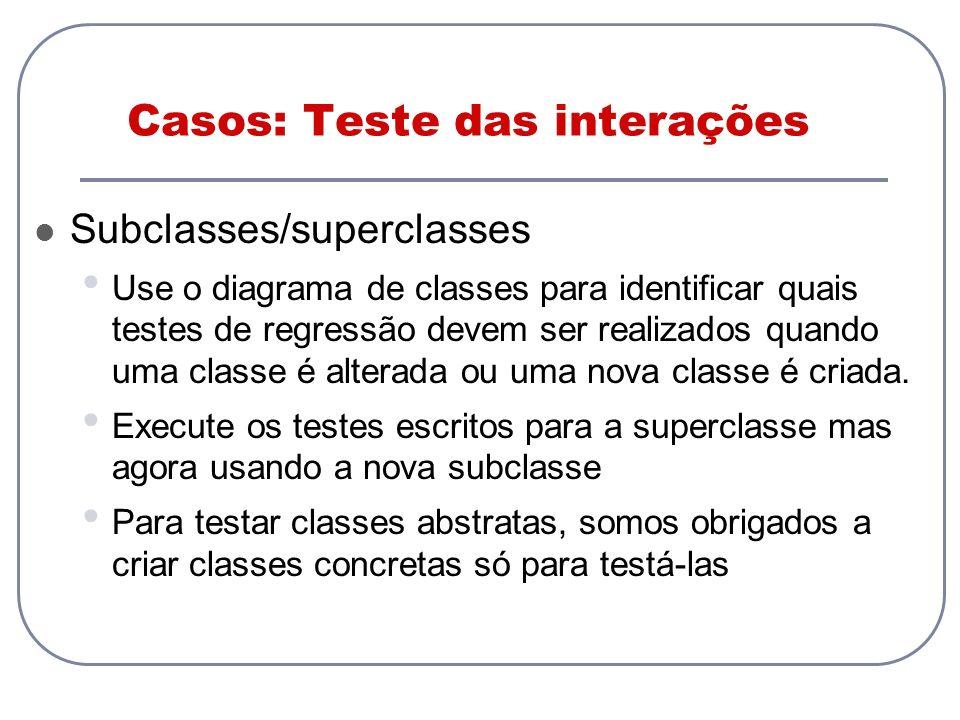 Casos: Teste das interações Subclasses/superclasses Use o diagrama de classes para identificar quais testes de regressão devem ser realizados quando u