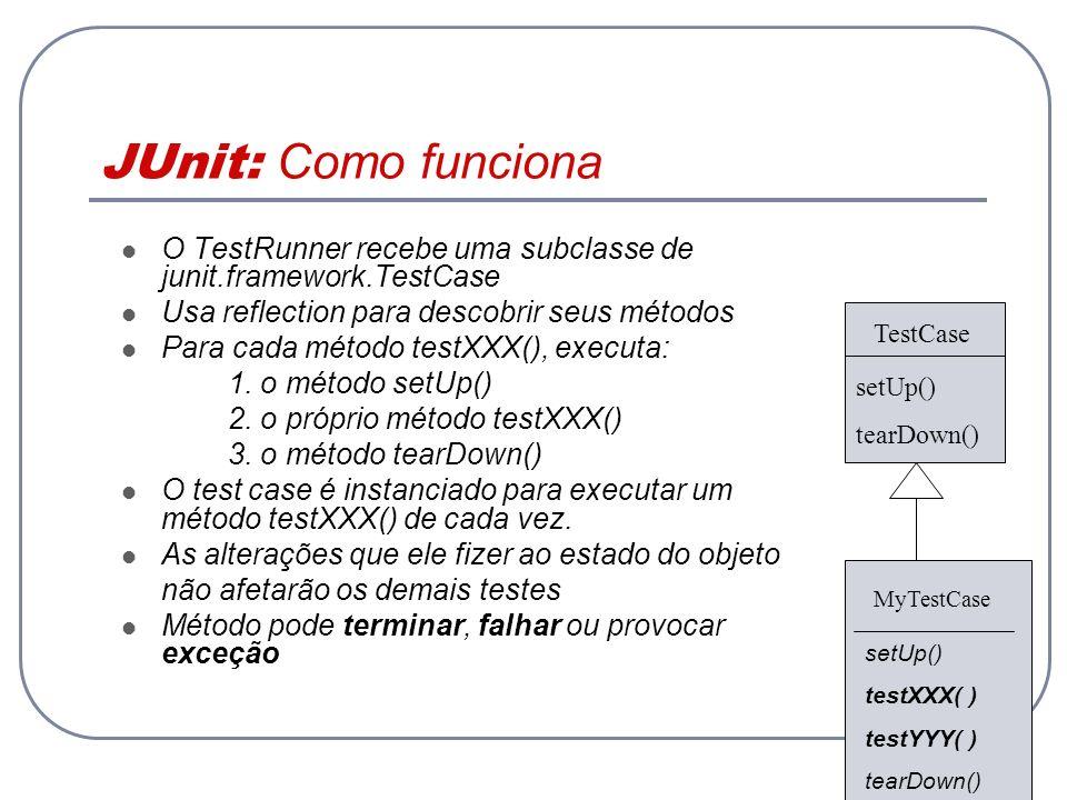JUnit: Como funciona O TestRunner recebe uma subclasse de junit.framework.TestCase Usa reflection para descobrir seus métodos Para cada método testXXX