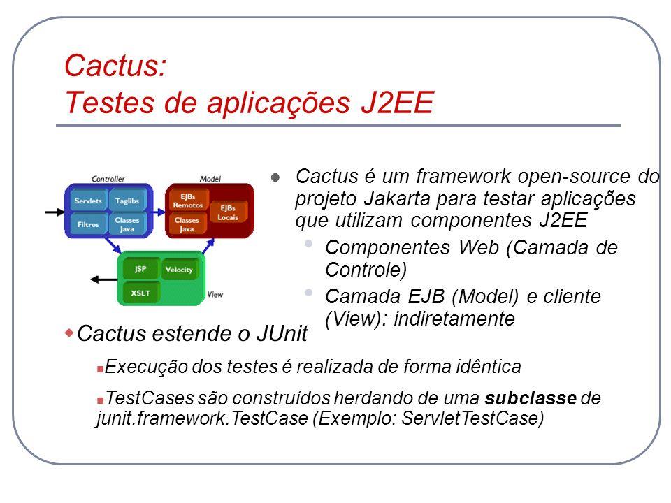 Cactus: Testes de aplicações J2EE Cactus é um framework open-source do projeto Jakarta para testar aplicações que utilizam componentes J2EE Componente
