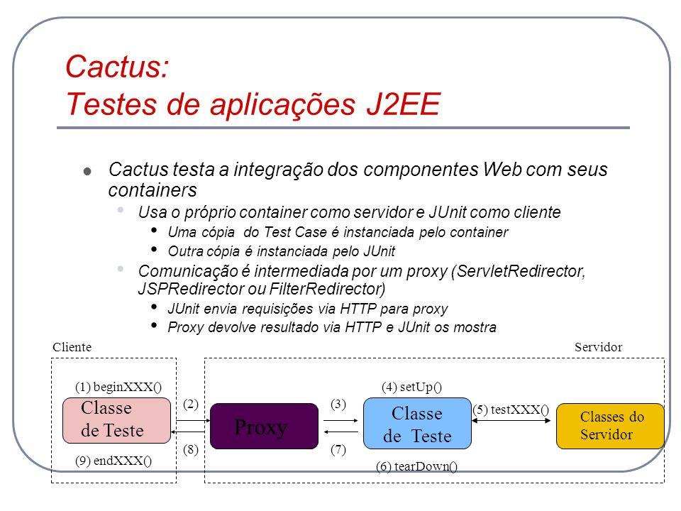 Cactus: Testes de aplicações J2EE Cactus testa a integração dos componentes Web com seus containers Usa o próprio container como servidor e JUnit como