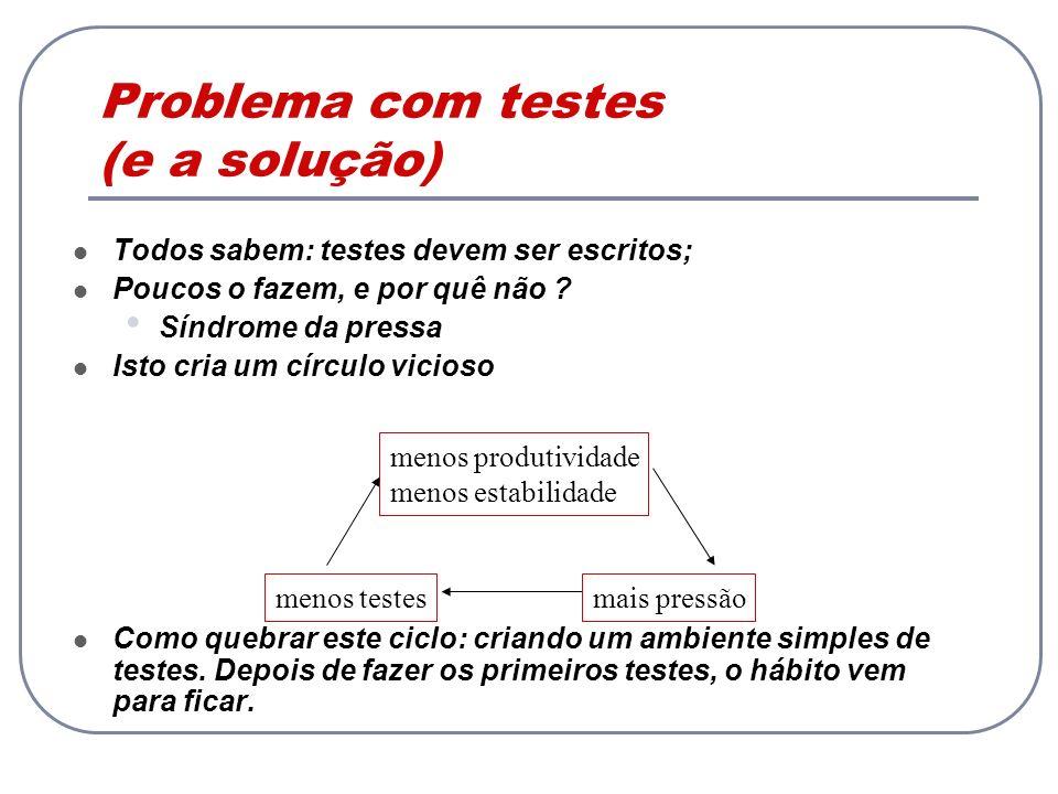 Cactus: Testes de aplicações J2EE Cactus é um framework open-source do projeto Jakarta para testar aplicações que utilizam componentes J2EE Componentes Web (Camada de Controle) Camada EJB (Model) e cliente (View): indiretamente Cactus estende o JUnit Execução dos testes é realizada de forma idêntica TestCases são construídos herdando de uma subclasse de junit.framework.TestCase (Exemplo: ServletTestCase)