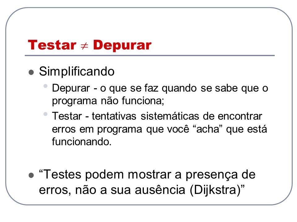 Testar Depurar Simplificando Depurar - o que se faz quando se sabe que o programa não funciona; Testar - tentativas sistemáticas de encontrar erros em