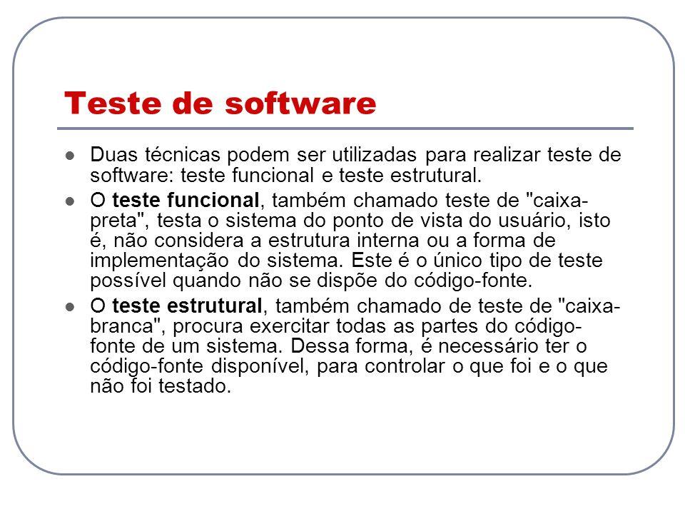 Testes de interface em servidores Web Testar o funcionamento da aplicação do ponto de vista do usuário Verificar se uma página HTML ou XML contém determinado texto ou determinado elemento Verificar se resposta está de acordo com dados passados na requisição: testes funcionais do tipo caixa- preta Soluções (extensões do JUnit): HttpUnit e ServletUnit: permitem testar dados de árvore DOM HTML gerada JXWeb (combinação do JXUnit com HttpUnit) permite especificar os dados de teste em arquivos XML arquivos de teste Java são gerados a partir do XML XMLUnit: extensão simples para testar árvores XML