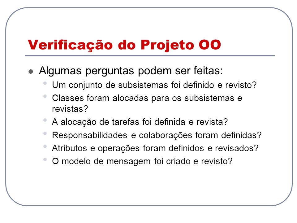 Verificação do Projeto OO Algumas perguntas podem ser feitas: Um conjunto de subsistemas foi definido e revisto.